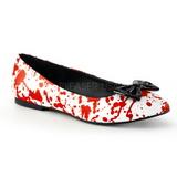 Rood Wit VAIL-20BL gothic ballerina platte schoenen