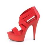 Rood elastische band 15 cm DELIGHT-669 pleaser schoenen met hak