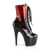 Rood glitter 18 cm ADORE-1020OMB paaldans enkellaarsjes met hoge hakken
