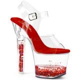 Rood glitter 18 cm LOVESICK-708GH paaldans schoenen met hoge hakken
