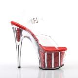 Rood glitter 18 cm Pleaser ADORE-708G paaldans schoenen met hoge hakken