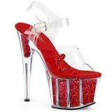 Rood glitter 18 cm Pleaser ADORE-708GTG paaldans sandalen met hoge hakken
