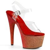 Rood glitter 18 cm Pleaser ADORE-708OMBRE paaldans schoenen met hoge hakken