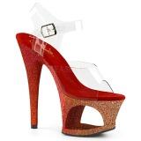 Rood glitter 18 cm Pleaser MOON-708OMBRE paaldans schoenen met hoge hakken