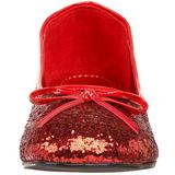 Rood glitter STAR-16G dames ballerinas schoenen