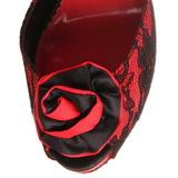 Rood kant stof 13,5 cm BELLA-17 Hoge Avond Sandalen met Hak