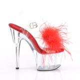 Rood maraboe veren 18 cm ADORE-708MF paaldans schoenen met hak
