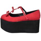 Rood zeildoek 8 cm CLICK-08 lolita gothic schoenen dikke zolen