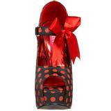 Roode Punten 14,5 cm Burlesque TEEZE-25 Zwart Plateau Pumps met Hakken