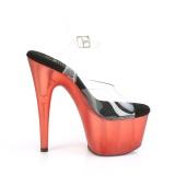 Roode plateau 18 cm ADORE-708T transparante hakken - pole dance schoenen
