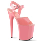 Rosa high heels 20 cm FLAMINGO-808N JELLY-LIKE stretch material platform high heels