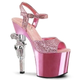 Rose 18 cm Pleaser REVOLVER-709G High Heels Chrome Platform