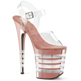 Rose 20 cm FLAMINGO-808CHLN High Heeled Sandal Chrome Platform
