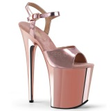 Rose 20 cm Pleaser FLAMINGO-809 High Heels Chrome Platform
