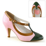 Rose 8 cm retro vintage PEACH-03 Pinup Pumps Shoes with Low Heels