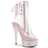 Rose transparent 15 cm DELIGHT-1018C Exotic stripper ankle boots