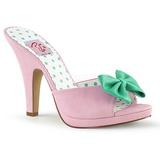 Roze 10 cm SIREN-03 Pinup mules schoenen met vlinderdas