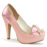 Roze 11,5 cm retro vintage BETTIE-20 Pinup pumps schoenen met verborgen plateauzool