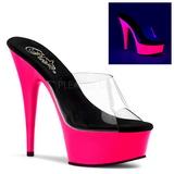 Roze 15 cm DELIGHT-601UV neon plateau slippers dames met hak