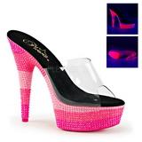 Roze 15 cm DELIGHT-601UVS neon plateau slippers dames met hak