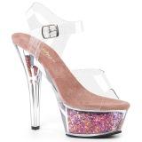 Roze 15 cm KISS-208GF glitter plateau sandalen met hak