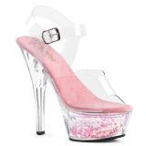 Roze 15 cm KISS-208WHG glitter plateau sandalen met hak