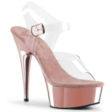 Roze 15 cm Pleaser DELIGHT-608 High Heels Chroom Plateau