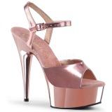 Roze 15 cm Pleaser DELIGHT-609 Chroom Plateau Hoge Hakken
