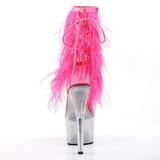 Roze 18 cm ADORE-1017MFF plateau enkellaarzen met maraboe veren