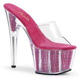Roze 18 cm ADORE-701SRS Strass steentjes plateau slippers dames