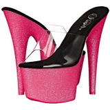 Roze 18 cm ADORE-701UVG neon plateau slippers dames met hak