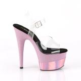 Roze 18 cm ADORE-708-2HGM glitter plateau schoenen met hakken