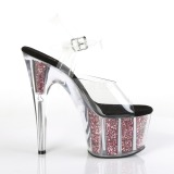 Roze 18 cm ADORE-708CG glitter plateau schoenen dames met hak