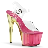 Roze 18 cm ADORE-708MCT Acryl hoge hakken schoenen pleaser