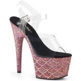 Roze 18 cm ADORE-708MSLG glitter plateau sandalen met hak