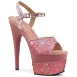 Roze 18 cm ADORE-709-2G glitter plateau sandalen met hak