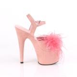 Roze 18 cm ADORE-709F pole dance hakken met veren