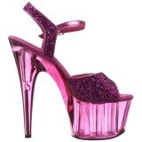 Roze 18 cm ADORE-710GT glitter plateau schoenen dames met hak