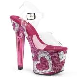 Roze 18 cm LOVESICK-708HEART damesschoenen hoge hak Glinsterende Steentjes
