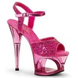 Roze 18 cm MOON-710GT glitter plateau schoenen dames met hak