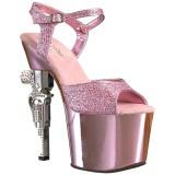Roze 18 cm Pleaser REVOLVER-709G High Heels Chroom Plateau