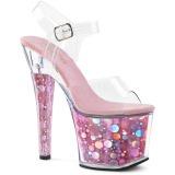 Roze 18 cm RADIANT-708BHG Hologram plateau schoenen dames met hak