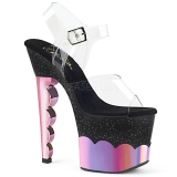 Roze 18 cm SCALLOP-708-2HGM Hologram plateau schoenen dames met hak