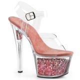 Roze 18 cm SKY-308GF glitter plateau sandalen met hak