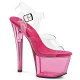 Roze 18 cm SKY-308T Acryl plateau schoenen dames met hak