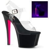 Roze 18 cm SKY-308TT Neon plateau schoenen dames met hak