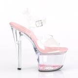 Roze 18 cm SKY-308WHG glitter plateau hoge hakken