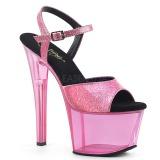 Roze 18 cm SKY-309GPT glitter plateau sandalen met hak