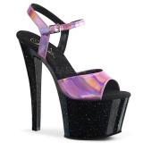Roze 18 cm SKY-309HG Hologram plateau schoenen dames met hak