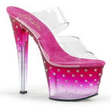 Roze 18 cm STARDUST-702T Strass steentjes plateau slippers dames